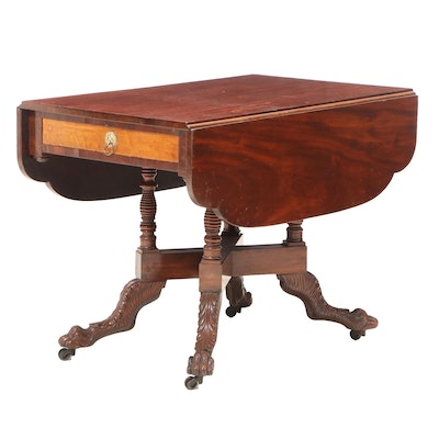 American Empire Mahogany and Maple Drop-Leaf Table, Early 19th Century