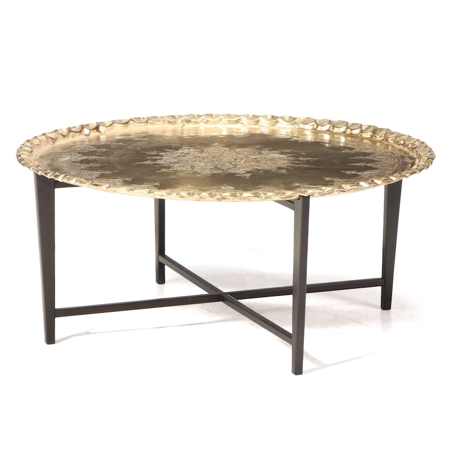 Indo-Persian Engraved and Embossed Brass Tray Table