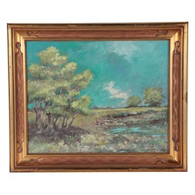 "Robert Riddle-Baker Acrylic Painting ""Near the Lake's Edge,"" 2021"