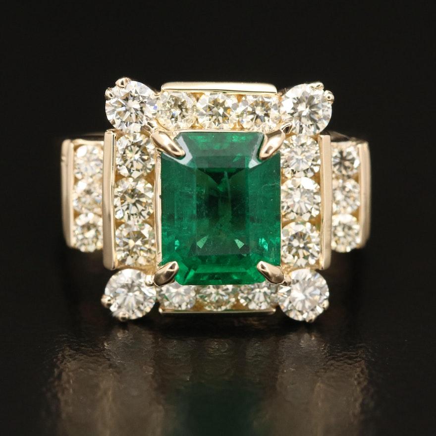 14K 2.01 CT Emerald and 1.55 CTW Diamond Ring