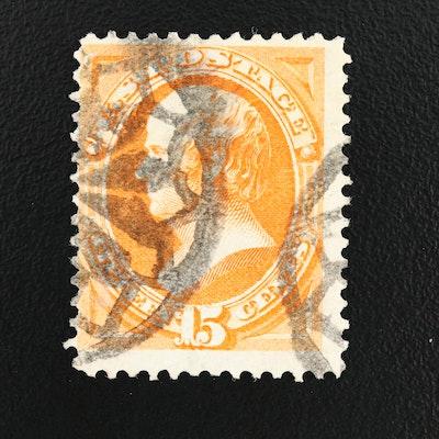 1870 Daniel Webster Bright Orange 15-Cent Stamp, Scott #152
