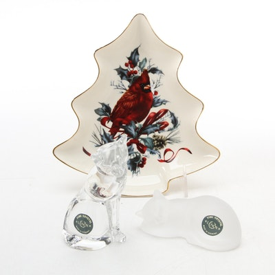 """Lenox """"Preen and Serene"""" Crystal Cat Figurines and """"Winter Greetings"""" Candy Dish"""