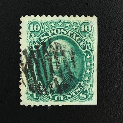 Washington Green 10-Cent Stamp, Scott #68, 1861