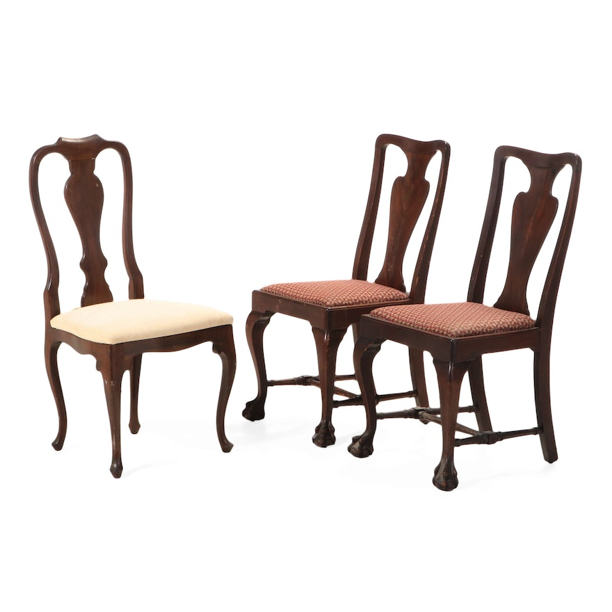 Three Queen Anne Style Side Chairs, Mid-20th Century