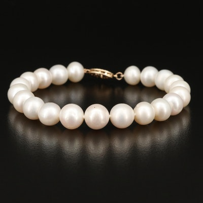 Single Strand Pearl Bracelet with 14K Clasp
