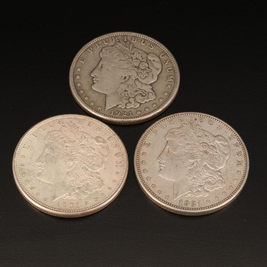 Three 1921 Morgan Silver Dollars