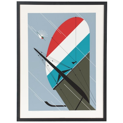 """Charley Harper Serigraph """"Fearless Feathers,"""" 1987"""