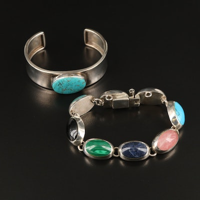 Mexican Sterling Gemstone Bracelet with Bezel Set Turquoise Cuff