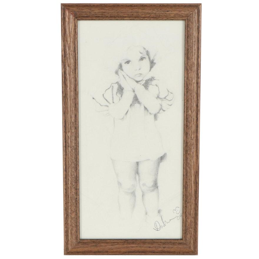 Dalrae Kim Graphite Drawing of Shirley Temple, 2004