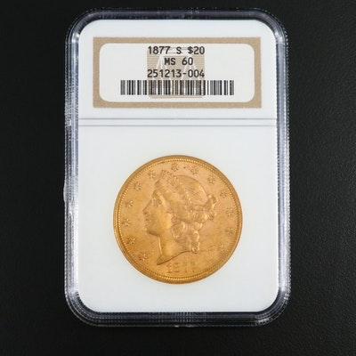 NGC Graded MS60 1877-S Liberty Head $20 Double Eagle Gold Coin
