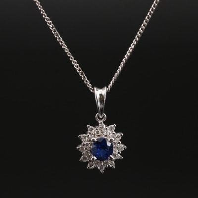 Platinum Sapphire and Diamond Pendant Necklace