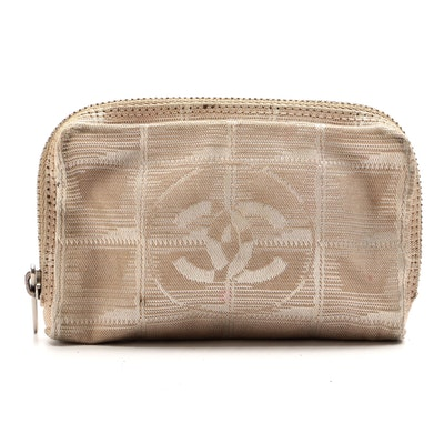 Chanel Travel Line Coin Purse in Beige Jacquard