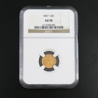 NGC Graded AU58 1857 Indian Princess Head Gold Dollar