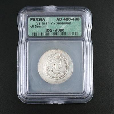 ICG Graded AU50 Ancient Sassanian AR Drachm Coin of Varhran V, ca. 420 AD