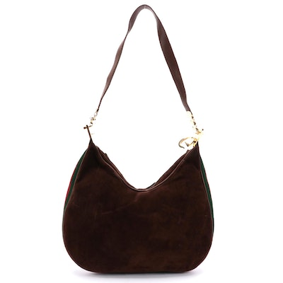 Gucci G-Clasp Web Stripe Hobo Bag in Brown Suede and Leather