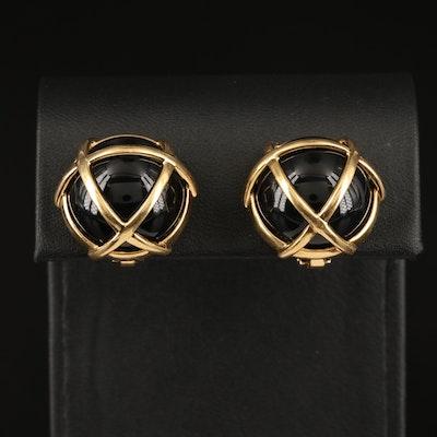 Verdura 18K Caged Black Onyx Clip Earrings