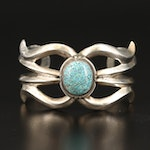 Southwestern Sterling Turquoise Sand Cast Cuff