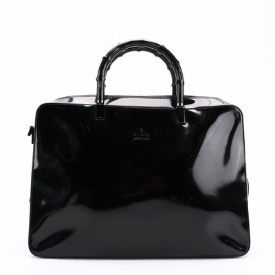 Gucci Square Satchel Bag in Black Glazed Leather with Bamboo Handles