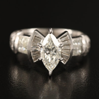 Platinum 1.72 CTW Diamond Ring with 14K Head and GIA Online Report
