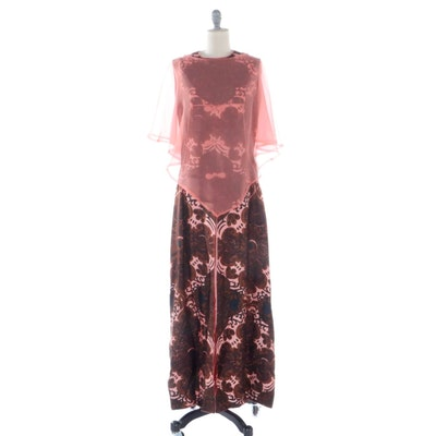 Skylight Bangkok Patterned Silk Shantung Sleeveless Maxi Dress and Capelet