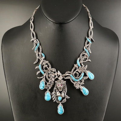 Sterling Marcasite Leopard and Snake Necklace with Ruby and Faux Turquoise