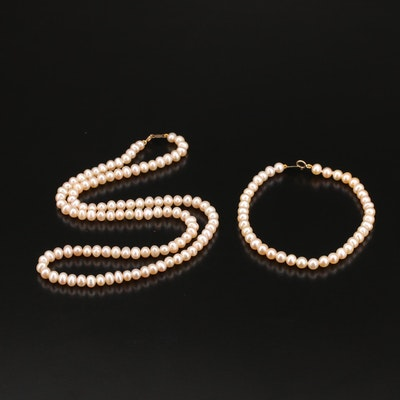 14K Pearl Necklace and Bracelet Set