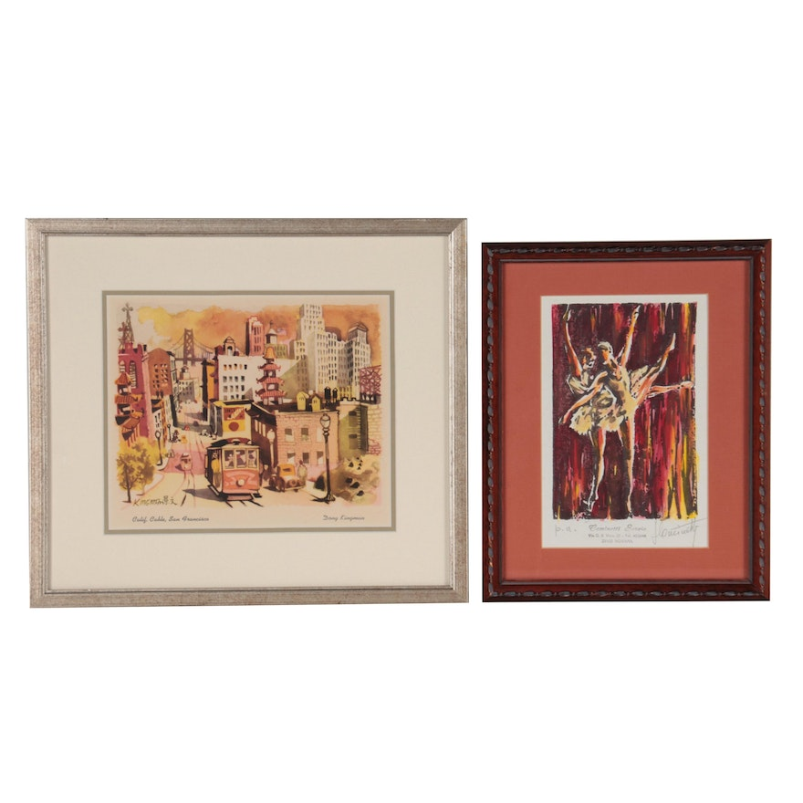 Relief Print and Offset Lithograph of Street Scene and Dancers