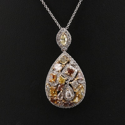 18K 3.05 Diamond Cluster Pendant Necklace with GIA Report