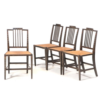 Four Ebonized and Paint-Decorated Hepplewhite Side Chairs, Early 19th Century