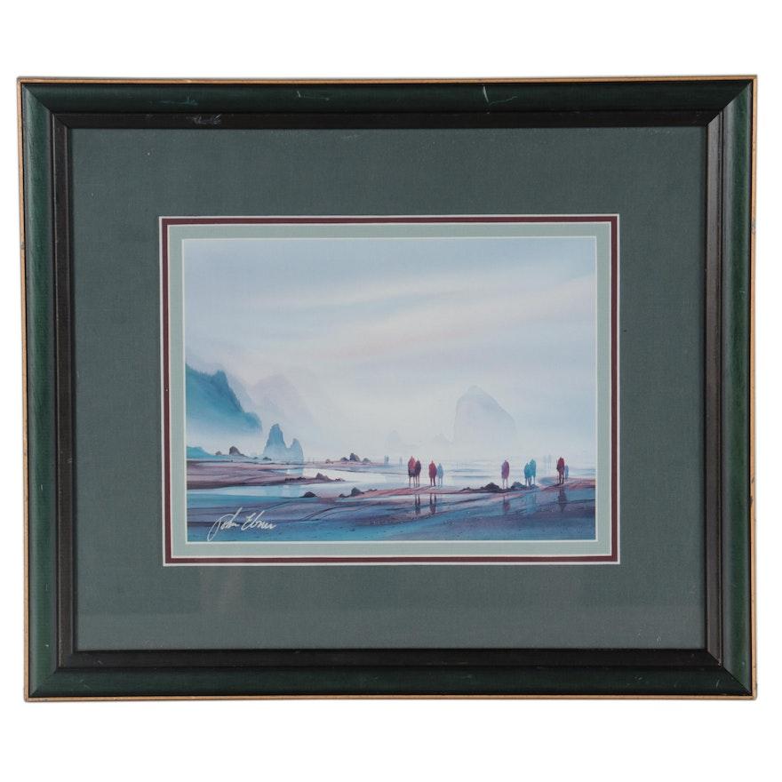 John Ebner Offset Lithograph of a Beach