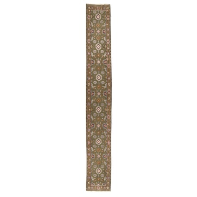 2'5 x 19'6 Hand-Knotted Indian Floral Carpet Runner