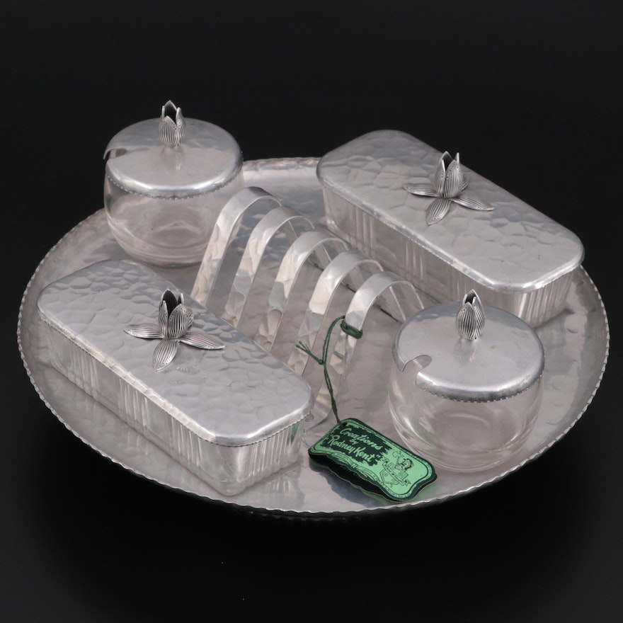 Rodney Kent Hammered Aluminum Lazy Susan Breakfast Set, Mid to Late 20th Century