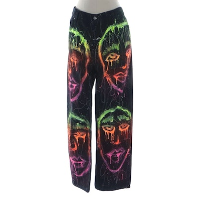 Ooh Baby by Anika Ignozzi Painted George Black Cotton Jeans