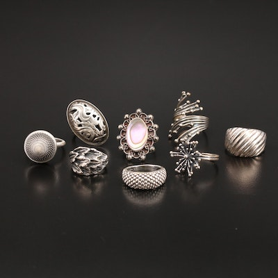 Sterling and 800 Silver Rings with Abalone