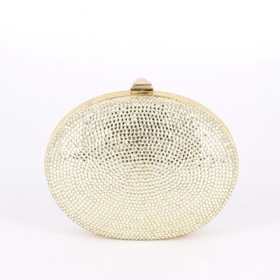 Judith Leiber Crystal Embellished Oval Minaudière Crossbody and Accessories