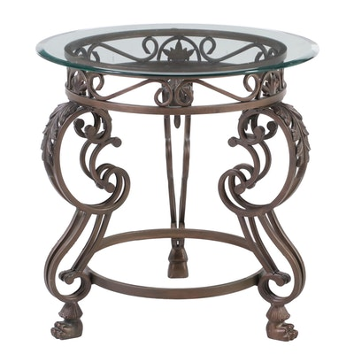 Patinated Metal and Glass Top Side Table