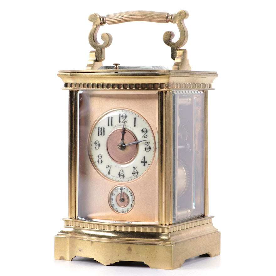 J.E. Caldwell & Co. French Brass Carriage Clock