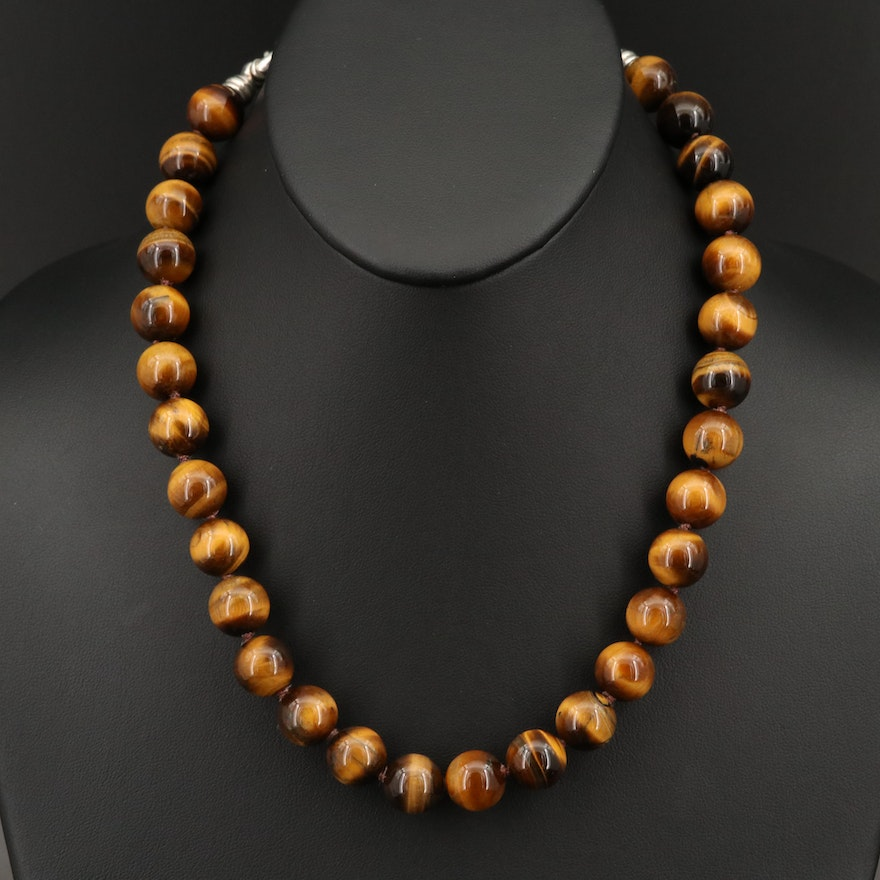 Tiger's Eye Beaded Necklace with Sterling Silver Clasp