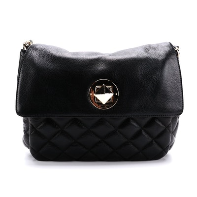 Kate Spade Gold Coast Charlize Flap Bag in Quilted Black Grained Leather
