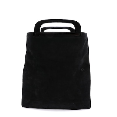 Gucci Front Pocket Shopper Tote in Black Suede with Leather Trim
