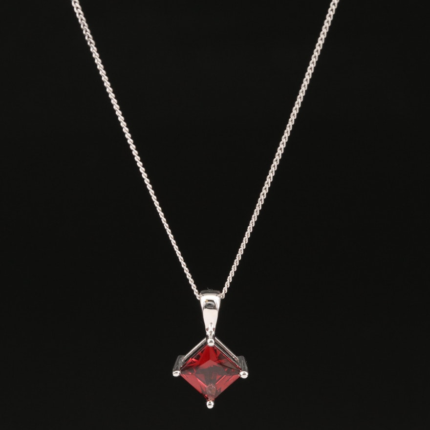 18K Garnet Pendant Necklace