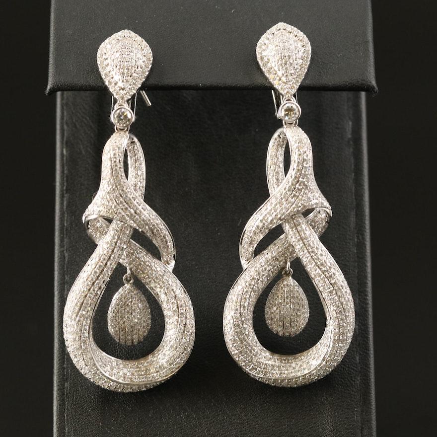 18K 10.12 CTS Pavé Diamond Intertwined Earrings
