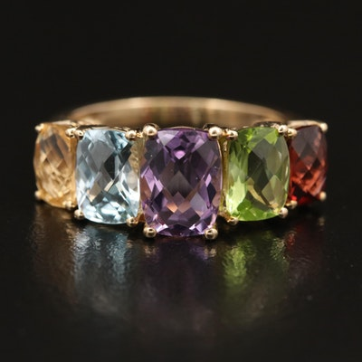10K Gemstone Ring with Amethyst, Peridot and Topaz