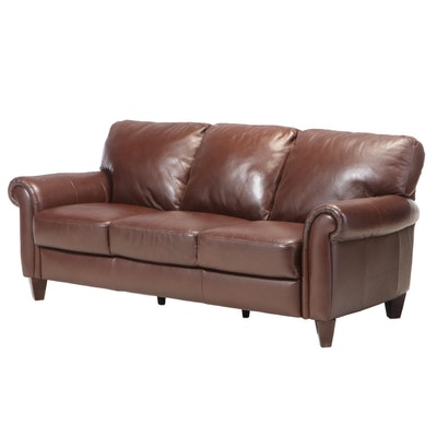 Natuzzi China Bonded Leather Roll-Arm Sofa