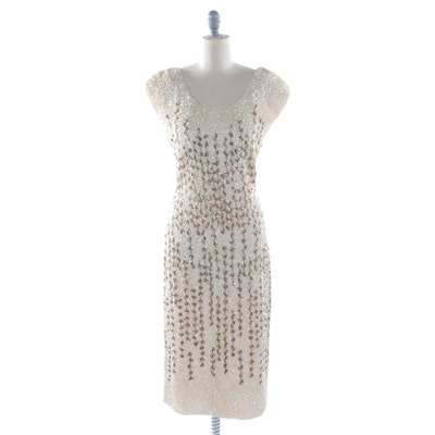Sequined and Beaded Knit Cocktail Dress with Open Back