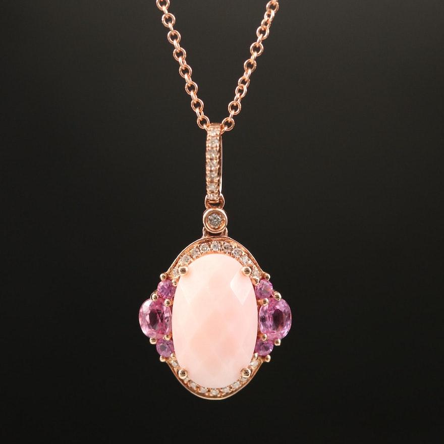 EFFY 14K Common Opal, Sapphire and Diamond Pendant Necklace