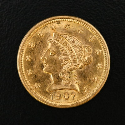 1907 Liberty Head $2.50 Quarter Eagle Gold Coin