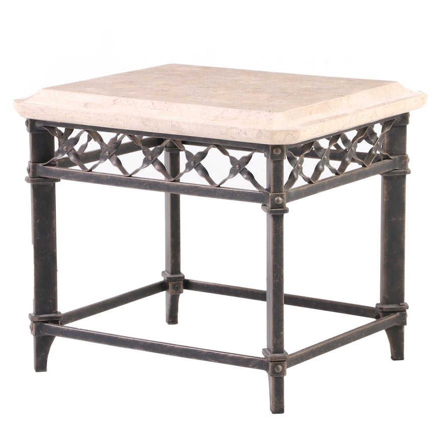 Patinated Metal and Stone-Veneered Side Table