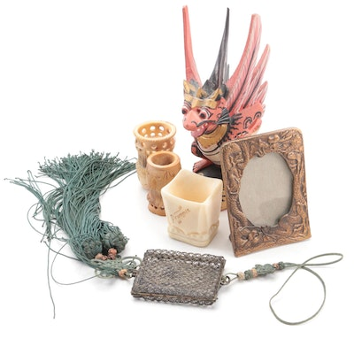 Vegetable Ivory Pin Cushion Holders with Garuda, Frame and Other Decor Items