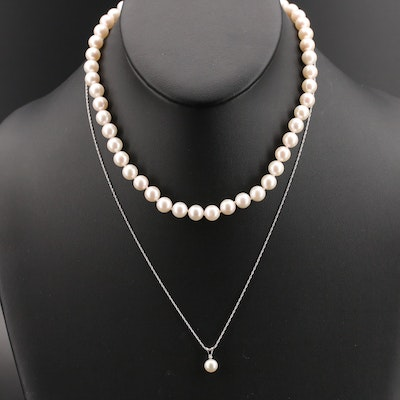 Sterling Pearl Pendant Necklace and Pearl Strand Necklace